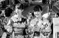 Kyoto Street (Andrew Allan Jpn) Tags: girls smiles smile japanese travel japan kyoto shrine temple kimono yukata blackandwhite monochrome greyscale cute beauty sweet happyplanet asiafavorites