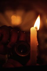 Capturing divinity... (NIL PRESTIGE) Tags: light lowlight candle capture camera canon bokeh warm red focus closeup shantiniketan santiniketan khrishtotsava christmas evening poush december winter kachmandir mandir