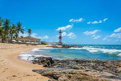 Farol de Itapoan (Fotógrafo / Photographer) Tags: bahia beach brazil lighthouse sand sky sun waves