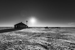 High Plains Winter (CTfotomagik) Tags: winter lonely high plains colorado abandoned windmill solitude quiet frigid cold snow rural decay nikon tamron wide angle landscape farm agriculture ranch grassland bnw blackandwhite monochrome hdr