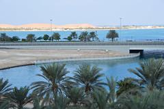 Abu Dhabi (Seventh Heaven Photography *) Tags: corniche road abu dhabi uae united arab emirates palm trees blue sky water sand landscape nikond3200