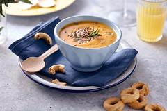 Pumpkin soup (Stefania Casali) Tags: soup food meal dinner vegetable lunch gourmet bowl healthyeating spoon cooked freshness vegetarianfood bread homemade crockery foodanddrink carrot pumpkin table