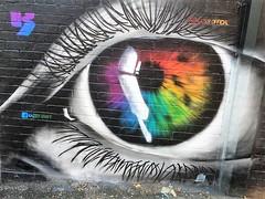 Manchester = Street Art (rossendale2016) Tags: brown lashes eyeball focusing focus blinking blink colorful colourful coloured iris eye art street manchester