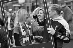 I was framed (Nikonsnapper) Tags: nikon d750 nikkor 85mm cardiff street rugby 6nations wales frame fans cymru