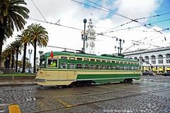 MUNI F-LINE CARS--1051 at Ferry Plaza OB (milantram) Tags: electricrailtransport sanfranciscofline sanfranciscopccs pccs streetcars trolleys trams