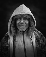 Steve (mckenziemedia) Tags: man people human humanity smile portrait blackandwhite monochrome portraiture face homeless homelessness hood coat winter chicago street streetphotography urban city