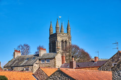 Helmsley Roofs (scottprice16) Tags: england yorkshire northyorkmoorsnationalpark nationalpark spring sunshine sky blue roofs tiles red church tower trees march 2019 allsaintschurch history historic fuji fujixt1 18135mm