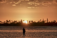 Fishing for Gold (Fletch in HI) Tags: nikon d5600 tamron 16300 sunset hickamafb hawaii oahu ocean water people trees clouds sky