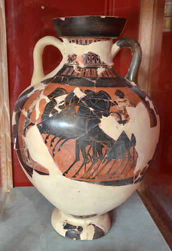 Panathenaic amphora with representation of a four-horse chariot, from Sparta