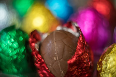 Temptations (for Matt's CLA) (OzzRod) Tags: sony a7rii helios44m458mmf2 гелиос44м4258 macro extension tubes chocolate eastereggs foil bokeh uncropped