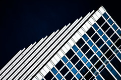(jfre81) Tags: chicago abstract texture minimalist pattern building architecture diagonal perspective black white blue onblack illinois il 312 chitown james fremont photography jfre81 canon rebel xs eos