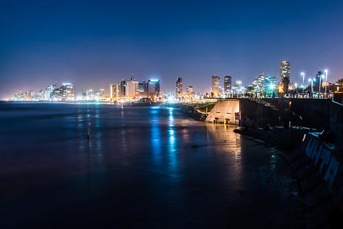 Tel Aviv, Israel, during the blue hour.