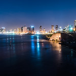 Tel Aviv, Israel, during the blue hour. thumbnail