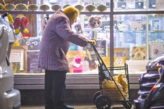 """The old lady goes shopping. """"I'm still very strong, I'm able to do everything by myself"""" Finally, the old lady told me. (Capitancapitan) Tags: old lady nyc neury luciano photography street colors pentax shopping"""