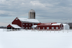 Country Barn (fotofish64) Tags: barn redbarn silo fence landscape winterlandscape winter farm rural agriculture rustic outdoor overcast cloud saratogacounty ballston capitaldistrict newyork building pentax pentaxart kmount k70 hdpentaxda1685mmlens snow