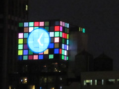 2018 Christmas Eve Virtual Clock Tower NYC 8375 (Brechtbug) Tags: 2018 christmas eve virtual clock tower ny times building night rooftop sign nyc 12242018 new york city green blue tile art deco buildings clouds lights evening publishing scape skyline mcgrawhill nite