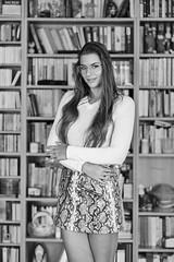 Kornelia (piotr_szymanek) Tags: kornelia korneliaw woman young skinny face portrait studio blackandwhite library eyesoncamera longhair mini skirt 1k 20f 5k 50f