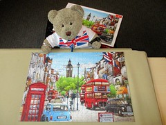 'Ave a butcher's* at me latest pussle! (pefkosmad) Tags: jigsaw puzzle hobby leisure pastime trefl poland painting art londonscene hiroyukitanikawa christmaspresent gift new complete phonebox bus taxi mini car street bigben unionflag cab hackneycarriage tedricstudmuffin ted animal toy cuddly cute fluffy plush soft stuffed teddy bear