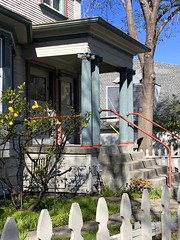 Red Railings (Melinda * Young) Tags: railing colors door columns edwardian classical berkeley oldhouse hss stairs portico duplex pickets fence