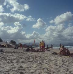 Day's End at Byron Bay (BunnySafari) Tags: yashicamat124g december summer 2017 australia sunshine beach byronbay film fuji400