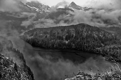 Overcast Skies Over Mountains and Diablo Lake (HDR, Black & White, North Cascades National Park Service Complex) (thor_mark ) Tags: anseladamslookfromcapturenx2 aurorahdr aurorahdrpro azimuth222 blackwhite canvas capturenx2edited cascaderange centralnorthcascades clouds cloudsabove cloudsabovetrees cloudsacrossvalley cloudsaroundmountainpeaks cloudsaroundmountains cloudsinvalley cloudy colonialpeak colorefexpro day7 diablolake diablolakevistapoint eldoradomassif evergreentrees evergreens hdr hiddeninclouds hillsideoftrees ideasigotfromothers lake landscape lightdrizzle lookingsw lowclouds mountainpeak mountains mountainsindistance mountainsoffindistance nature nikond800e northcascades northcascadeshighway northcascadesnationalparkcomplex northcascadesnationalparkservicecomplex northcascadesscenichighway outside overcast overcastwithclouds pacificranges pinnaclepeak portfolio project365 rainy rainyday ridge ridges rollinghillsides rosslakenationalrecreationarea thunderarm thunderknob trees triptonorthcascadesandwashington wastateroute20 rosslakenationalrecreationar washington unitedstates