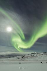 Lady Aurora (Kjartan Guðmundur) Tags: iceland ísland auroraborealis northernlights nightscape moon snow stars sky mountain kjartanguðmundur canoneos5dmarkiv sigma14mmf18art arctic