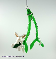 Little Bunny on Glass Mistletoe (Quernus Crafts) Tags: polymerclay quernuscrafts cute glassmistletoe phoenixglass christmas decoration bunny whitebunny