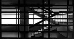 Durchblick (pix-4-2-day) Tags: stairs staircase treppe treppenhaus durchblick fenster windows glas glass milchglas frostedglass steps treppenstufen schwarzweis monochrom monochrome blackandwhite black white auf ab upstairs downstairs