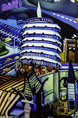 Capitol Records (Thad Zajdowicz) Tags: zajdowicz availablelight lightroom usa travel leica color art vivid bright brilliant blue capitolrecords mural painting sandradrinning petersenautomotivemuseum losangeles california iconic building architecture