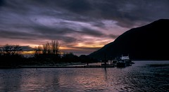 Twilight by lake time (Christie : Colour & Light Collection) Tags: twilight sundown sunset pittmeadows pittlake pittriver grantnarrowsregionalpark bc canada britishcolumbia reflections water mountain sky clouds silhouette pier dock wharf