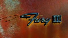 Fury III (davidwilliamreed) Tags: old rusty crusty metal car auto automobile plymouth emblem rust decay patina textures pineneedle abandoned neglected forgotten oxidized oxidation weathered weatherbeaten chrome oldcarcity whitega bartowcounty