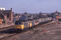 47652+47665 At Taunton. 21/02/1989. (briandean2) Tags: 47652 47665 taunton tauntonrailwaystation somerset class47 railways ukrailways