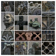 web-design (louise peters) Tags: grave graf details web spiderweb spinnenweb rag cemetery larecoleta buenosaires collage