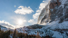 A new beginning (Nicola Pezzoli) Tags: italy italia val gardena dolomiti dolomites mountain winter alto adige snow neve nature natura bolzano sassolungo smoke sunrise piz sella