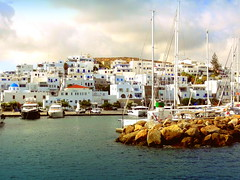 Naouissa Village (dimaruss34) Tags: newyork brooklyn dmitriyfomenko image sky clouds greece paros village sea aegeansea buildings mountains church yachts boats jetty cove cars architecture