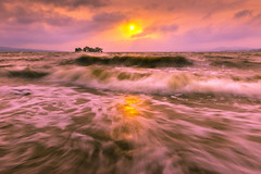 sunset 4884 (junjiaoyama) Tags: japan sunset sky light cloud weather landscape pink contrast color lake island water nature spring wave storm rough sun reflections muddywater shallow bog
