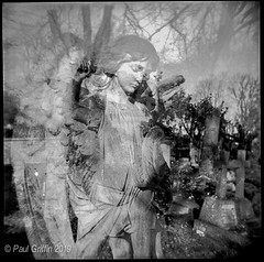 Highgate Cemetery 1 (global griff) Tags: 120film bwfilm doubleexposure england holga negscans monuments tmax400 london cemetary tombstone analogphotography