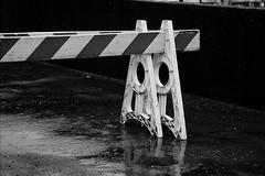 Stop (Photo Alan) Tags: film filmcamera filmscan leica mp leicamp leica90mmf28 kodakdoublex5222 kodak5222 blackwhite blackandwhite vancouver canada monochrome reflection construction