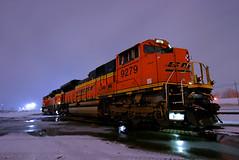 Cool, Winter Nights (Jeff Carlson_82) Tags: bnsf emd ks sd70ace snow winter flurry 9279 topeka kansas nightphotography night topekasub kpl train railroad railfan railway