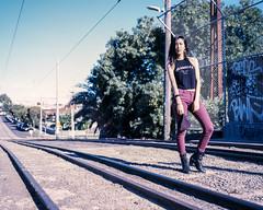 Tracks (OzGFK) Tags: 67 6x7 ektachrome elitechrome elitechrome200 kodak mamiya mamiyarz67 melbourne analog beautiful film mediumformat model pretty slide woman thornbury 120 bright daylight urban outdoor