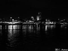 180722-50 Sur le Mékong (2018 Trip) (clamato39) Tags: eau water river rivière phnompenh cambodge cambodia asia asie night nightshot lights lumières nuit city ville urban urbain voyage trip blackandwhite bw monochrome noiretblanc