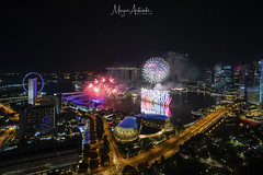 New Year Eve Fireworks Show at Singapore Marina Bay skyline. Aerial view. (MEzairi) Tags: 2019 aerial anniversary architecture asia bay building business celebration city cityscape colorful day district dusk eve evening event famous festival financial firework fireworks high hotel landmark light marina modern national new night river show singapore singaporecity singaporeskyline sky skyline skyscraper sunset tourism travel urban view waterfront year batis2818 batis