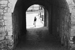Light into Darkness (Marija Mimica) Tags: street stone historique city castle black blackwhitephotos belgradeblackwhite monochrome people person