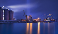 Lights (Maurizio Fecchio) Tags: lights longexposure boats industrial blue sunset tramonto factory ship photoshop nikon d7100