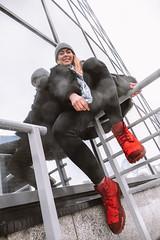 MERIT-2150146 (qauqe) Tags: tartu estonia model female girl woman beanie chick fashion ootd leica timberland footwear red urban streetwear furcoat fur jacket smile laughter winter