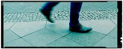 I'm walking (Art de Lux) Tags: berlin lunchbreaksnap leg shoe cobblestone blue cyan crossprocessing smartphone artdelux mittagspausenknips gehweg bein schuh kopfsteinpflaster blau crossentwicklung