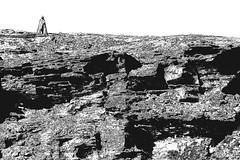 JAN_8937_Psy1_B&W (Roy Curtis, Cornwall) Tags: uk cornwall tintagel gallos kingarthurian statue clifftop cliffs rock strata tintagelcastle englishheritage