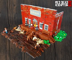 Red Dead Redemption 2 - Valentine bank robbery (KevFett2011) Tags: kevfett2011 lego red dead redemption 2 ii moc creation valentine bank robbery landscape town dark wall green plants horse arthur bill lenny karen rob 2019 afol bricks build building photography hobby art artist