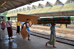 Yangon, central station (70) (Neal J.Wilson) Tags: burma burmese myanmar asia asian transport travelling train track passengers railways station