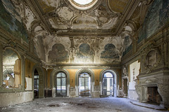 Opulence (Giorgio Marra) Tags: abandoned forgotten lost decay dark dust decadence shadow silence echoes empty room time urbex italy indoor old contrast photography past photo light flickr darkness canon memories mansion fotografia abbandono window wall decoration art architecture